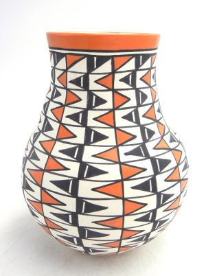 Acoma handmade and hand painted polychrome zig zag pattern jar by Beverly Garcia