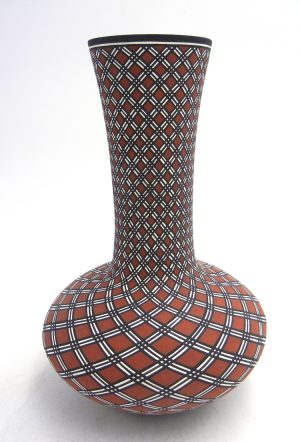 Acoma handmade and hand painted polychrome eyedazzler design vase by Paula Estevan