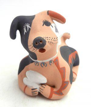 Jemez handmade and hand painted dog figurine by Emily Fragua Tsosie