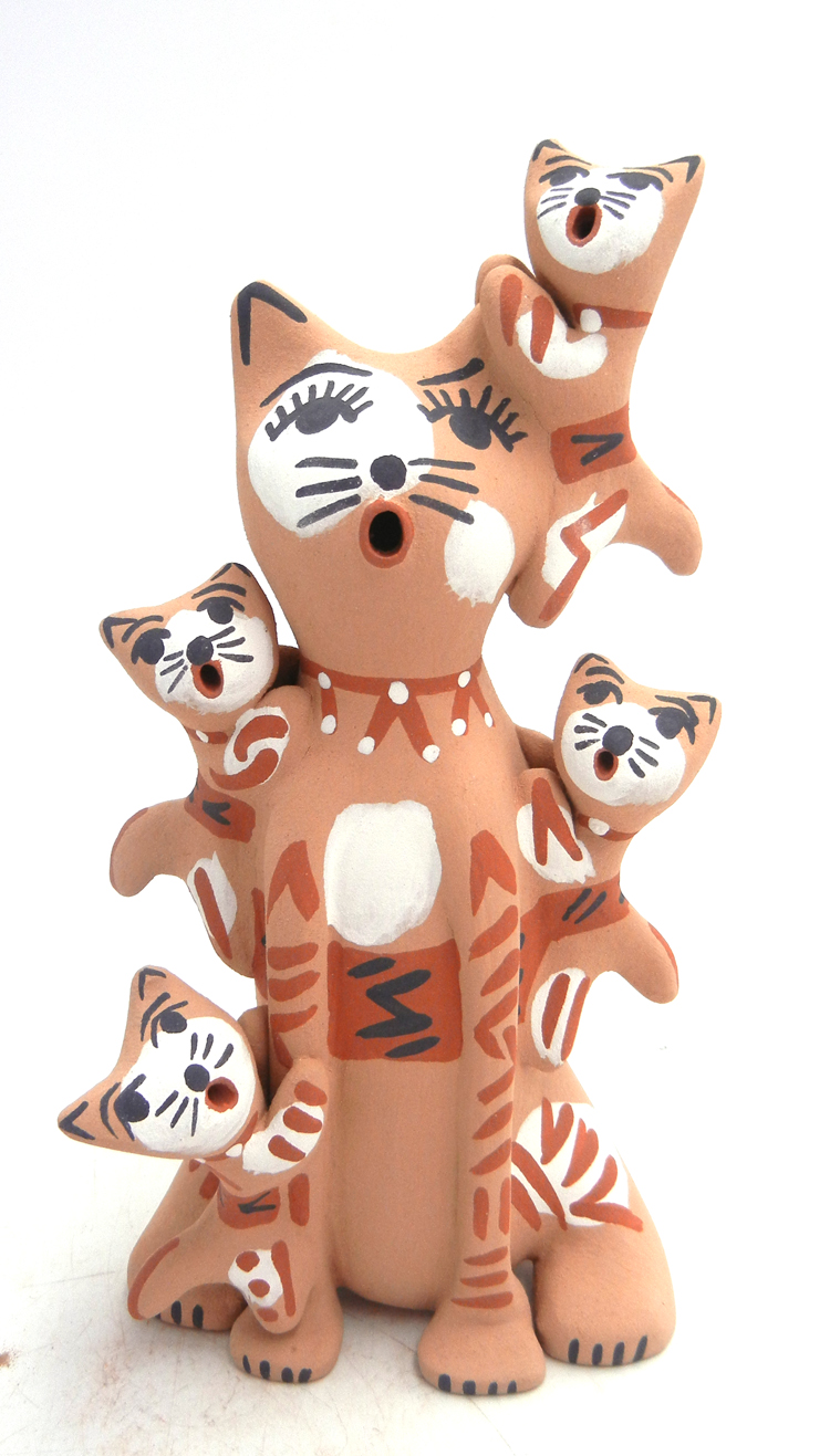 Jemez cat storyteller with four kittens by Bonnie Fragua