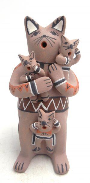 Jemez cat storyteller with three kittens by Robert Fragua