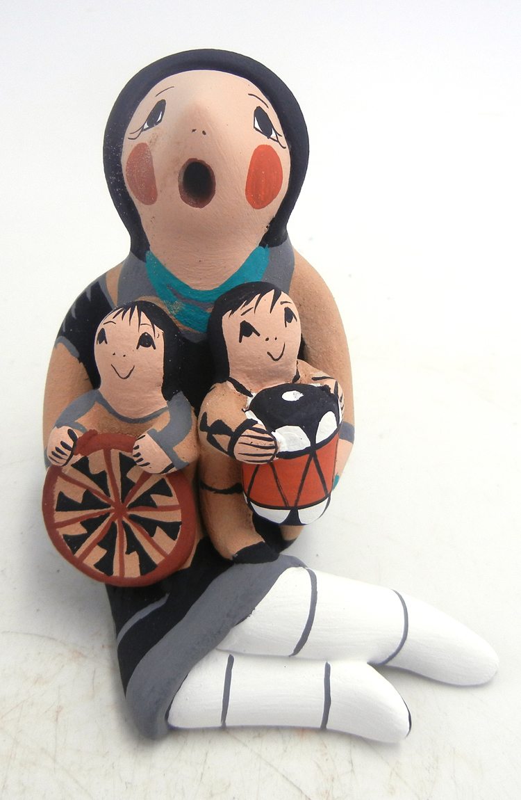 Jemez seated storyteller figurine with two children by Diane Lucero
