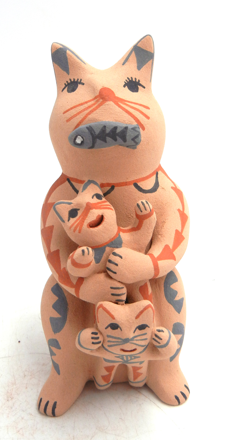 Jemez standing cat storyteller with two kittens and fish by Emily Fragua Tsosie