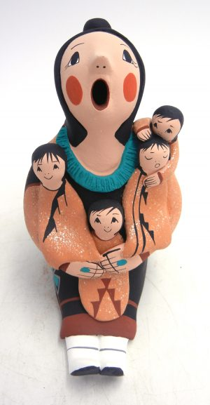 Jemez large seated storyteller figurine with four children by Diane Lucero