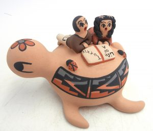 Jemez turtle figurine with two children and ladybugs by Chrislyn Fragua