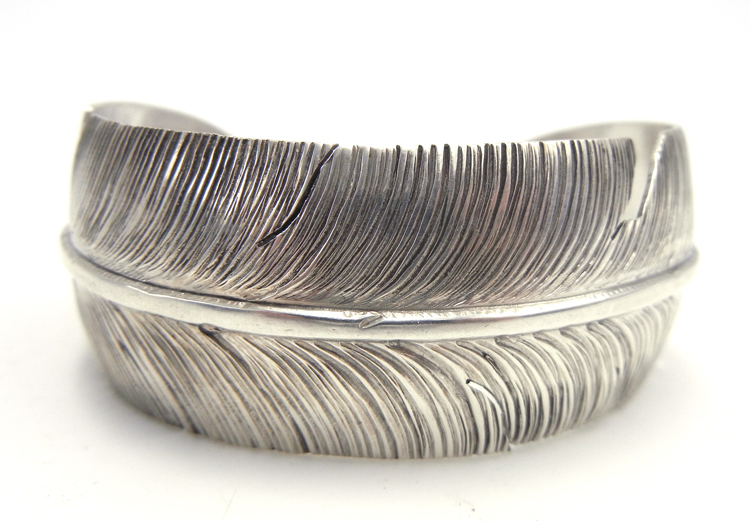 Navajo stamped sterling silver feather cuff bracelet by Ben Begay