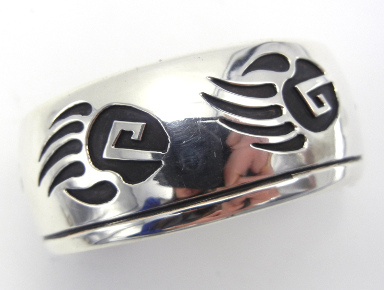 Navajo sterling silver overlay bear paw cuff bracelet