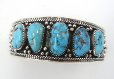 Navajo Kingman turquoise and sterling silver applique row cuff bracelet