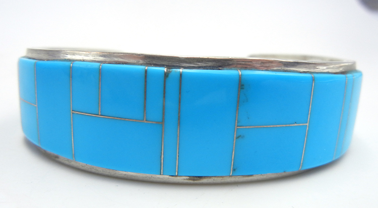 Navajo turquoise and sterling silver channel inlay cuff bracelet