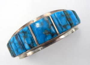 Navajo turquoise and sterling silver cornrow inlay cuff bracelet by Harold Smith