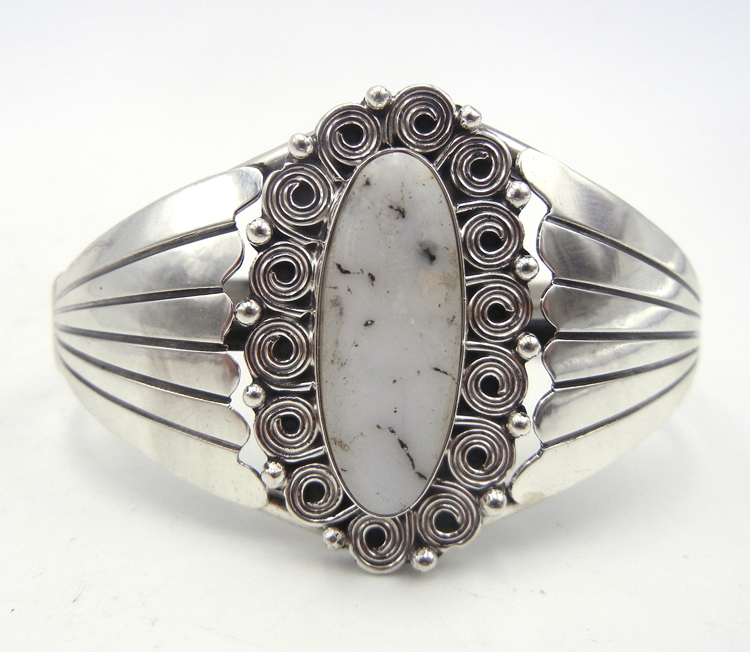 Navajo White Buffalo and sterling silver cuff bracelet