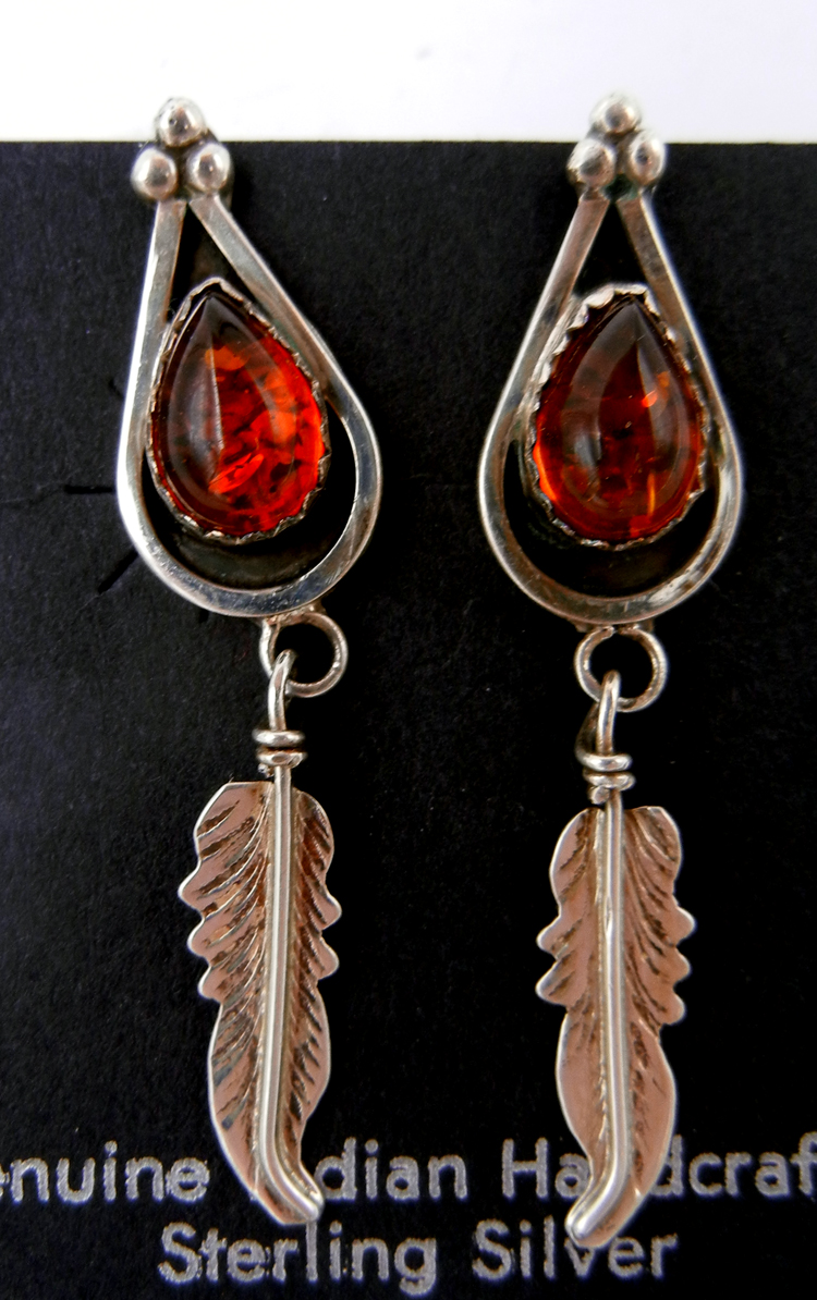 Navajo amber and sterling silver feather dangle earrings