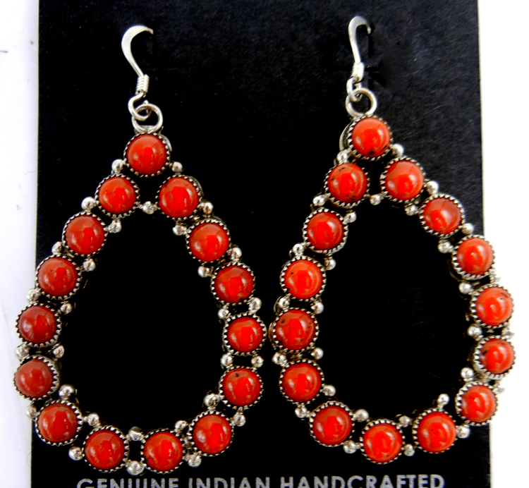 Navajo large coral and sterling silver tear drop dangle earrings