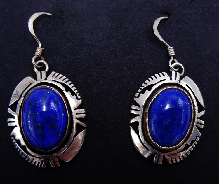Navajo lapis and sterling silver dangle earrings by Eddie Secatero