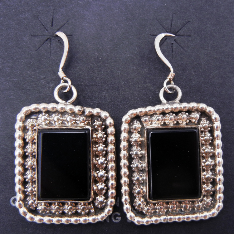 Navajo rectangular onyx and sterling silver dangle earrings