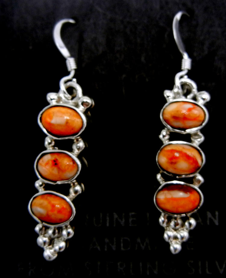 Navajo triple orange spiny oyster shell and sterling silver dangle earrings