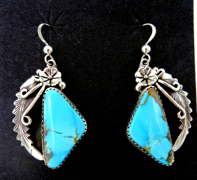 Navajo Kingman turquoise and sterling silver dangle earrings by Peterson Johnson