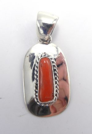 Navajo coral and sterling silver pendant