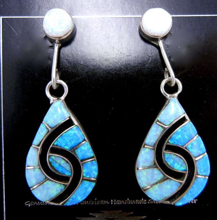 Zuni blue and white lab opal and sterling silver inlay hummingbird pattern earrings by Amy Quandelacy