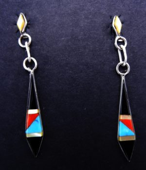 Zuni multi-stone inlay and sterling silver diamond shaped dangle earrings