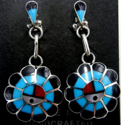 Zuni multi-stone inlay and sterling silver sunface dangle earrings