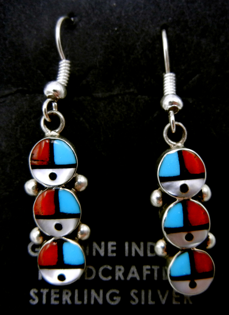 Zuni multi-stone inlay and sterling silver triple sunface dangle earrings