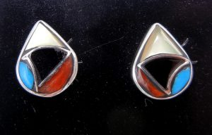 Zuni small multi-stone and sterling silver inlay tear drop post earrings