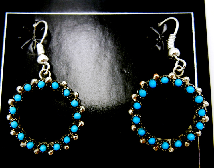 Zuni small turquoise petit point and sterling silver circular cut out dangle earrings