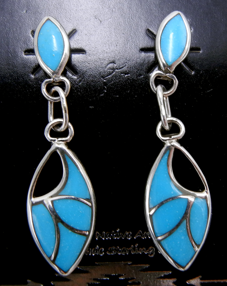 Zuni small turquoise and sterling silver inlay dangle earrings