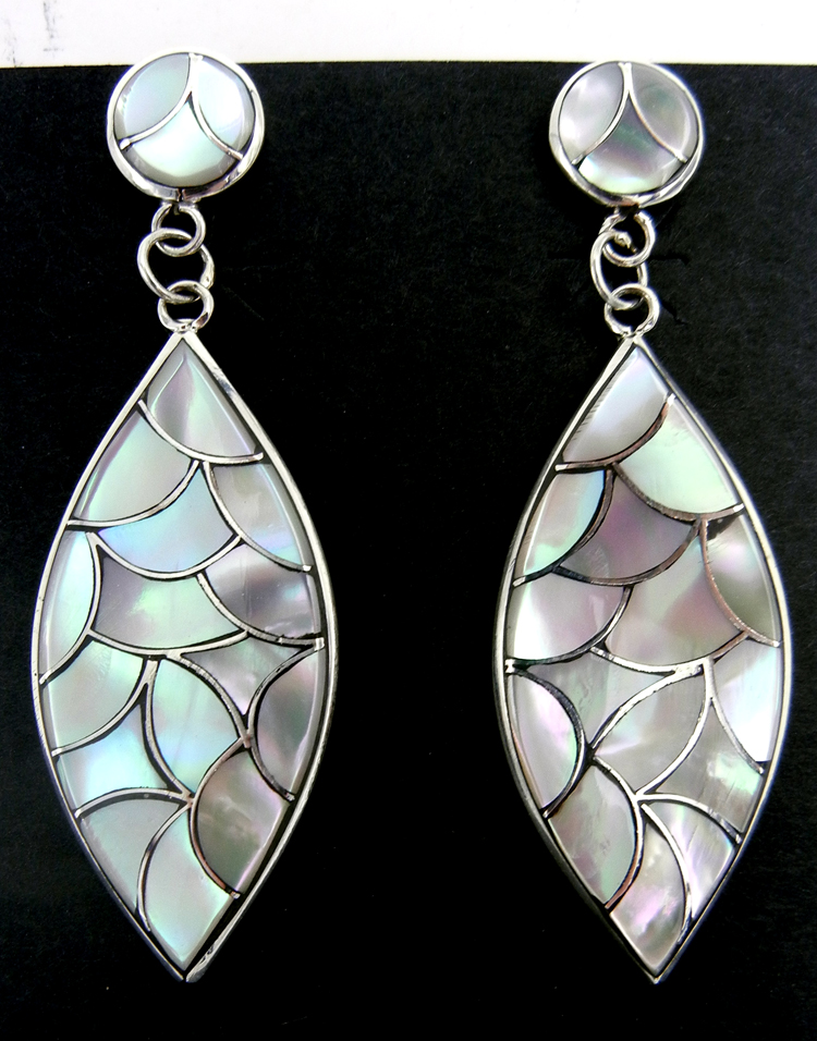 Zuni large white mother of pearl and sterling silver inlay dangle earrings