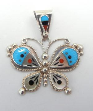 Zuni multi-stone inlay and sterling silver butterfly pendant by Leavus Ahiyite