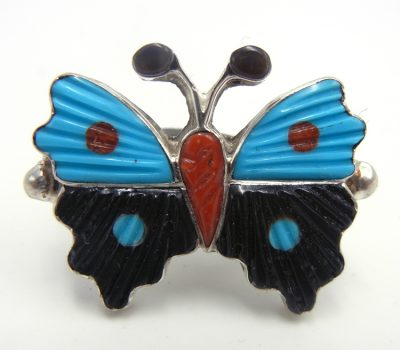 Zuni multi-stone inlay and sterling silver butterfly ring by Tamara Pinto