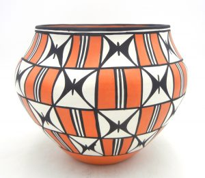 Acoma large polychrome butterfly design jar by Loretta Joe