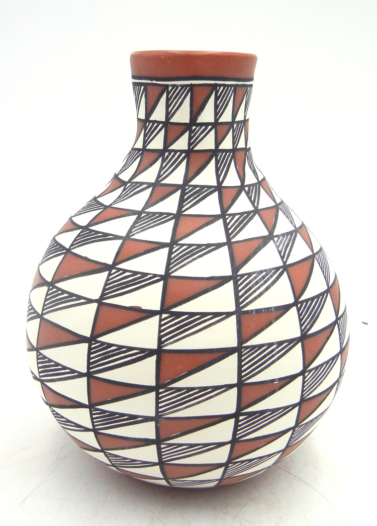 Acoma handmade and hand painted polychrome weather pattern vase by Beverly Garcia