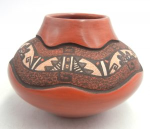 Jemez handmade red polished etched and hand painted small bowl by BJ Fragua