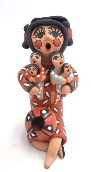Jemez double sided storyteller figurine with four children by Felicia Fragua