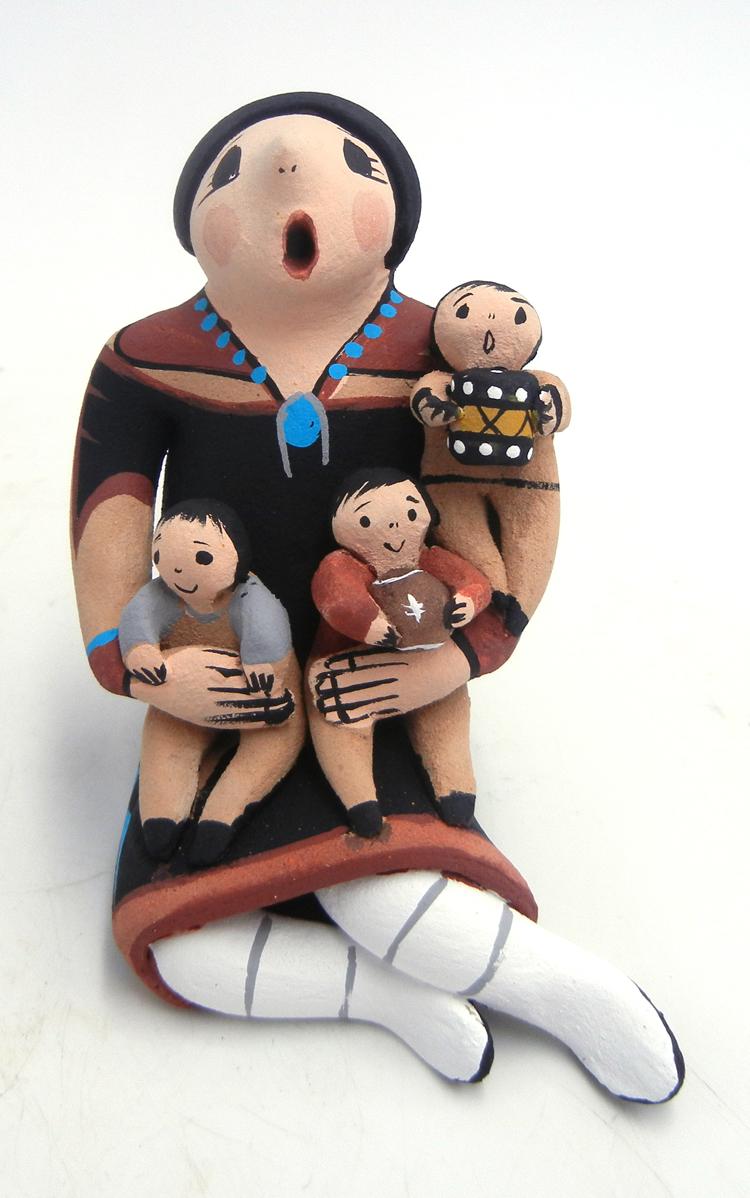 Jemez seated storyteller figurine with three children by Joyce Lucero