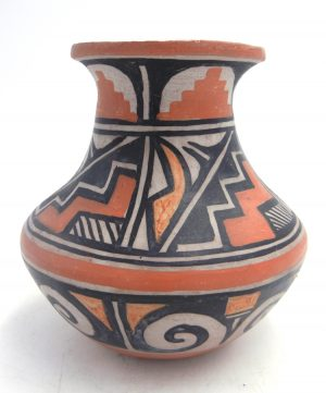 Santo Domingo handmade and hand painted polychrome vase by Robert Tenorio
