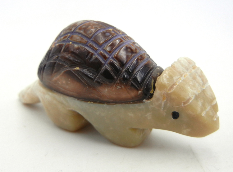Zuni Picasso marble and snail shell carved stone armadillo fetish