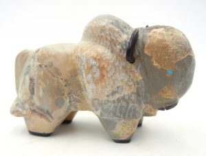 Zuni carved stone Picasso marble buffalo fetish by Freddie Leekya