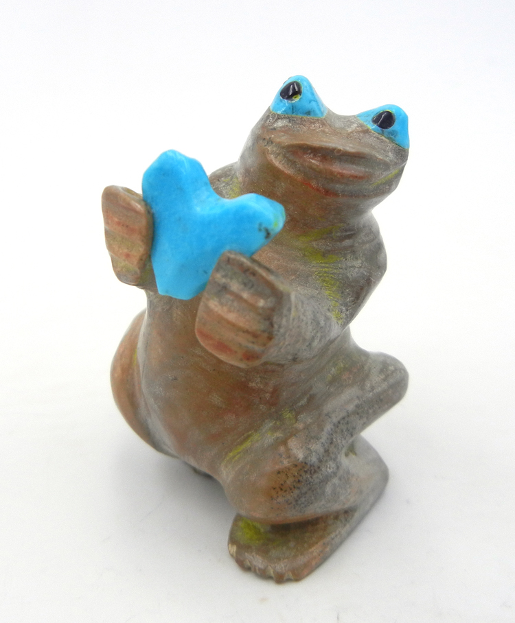Zuni carved stone Picasso marble frog fetish with turquoise accents by Freddie Leekya