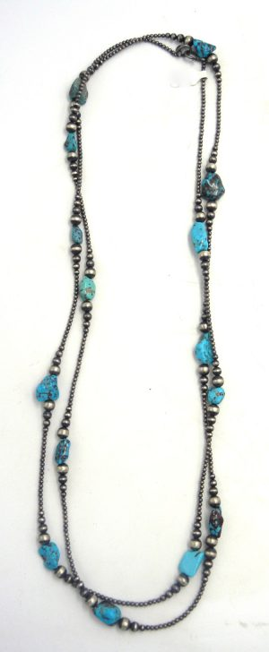 """Navajo turquoise nugget and brushed sterling silver 60"""" Navajo pearl jump rope necklace"""