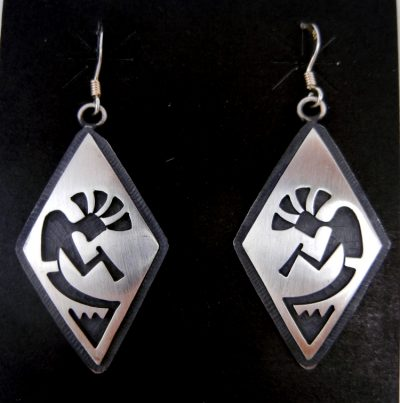 Hopi sterling silver overlay diamond shaped kokopelli dangle earrings