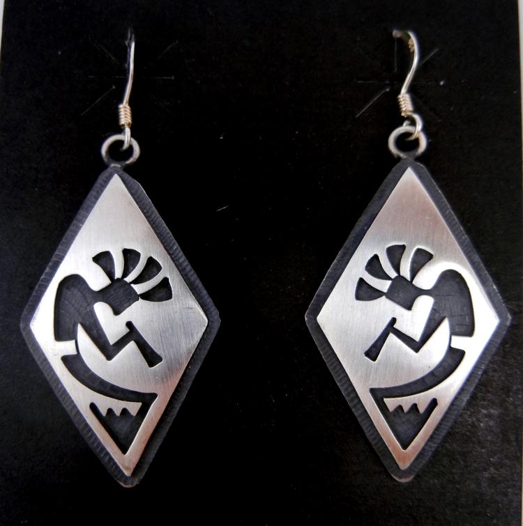 Hopi sterling silver overlay diamond shaped kokopelli dangle earrings
