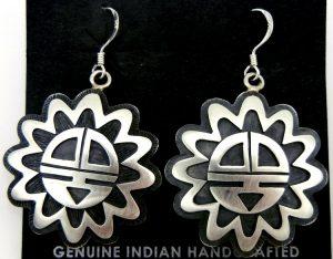 Hopi sterling silver overlay sunface dangle earrings