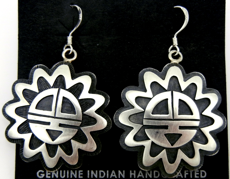 Hopi sterling silver overlay sunface dangle earrings