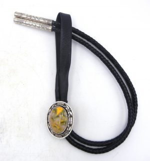 Navajo bumblebee jasper and sterling silver bolo tie by Tony Chino
