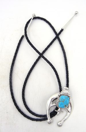 Navajo sterling silver and turquoise naja bolo tie by Bennett Yazzie