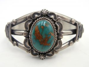 Navajo green Royston turquoise and sterling silver cuff bracelet by landoll Benally
