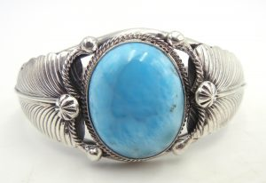 Navajo Larimar and sterling silver cuff bracelet